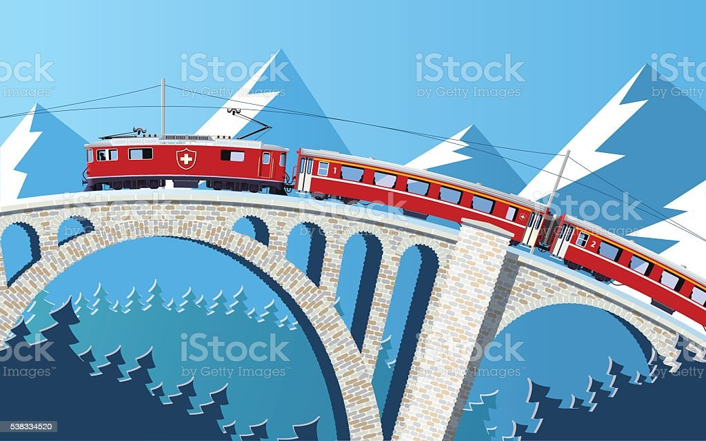 Mountain train on the bridge through the Alps vector art illustration