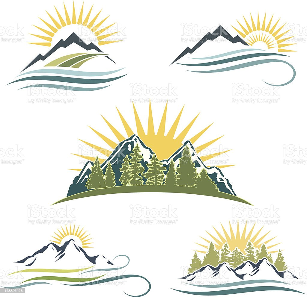 Mountain, Trees, River Icon Set royalty-free stock vector art