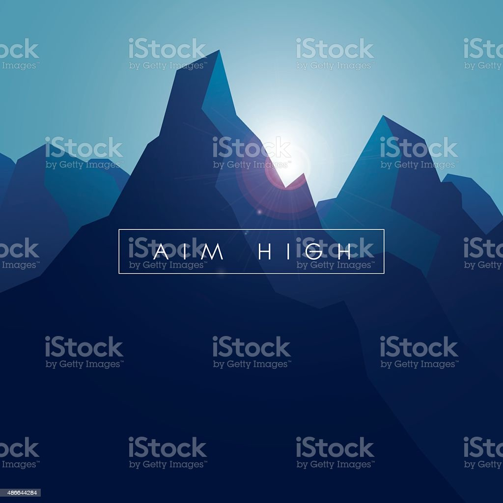 Mountain vector background. Realistic high peaks with blue gradients and vector art illustration