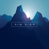 Mountain vector background. Realistic high peaks with blue gradients and