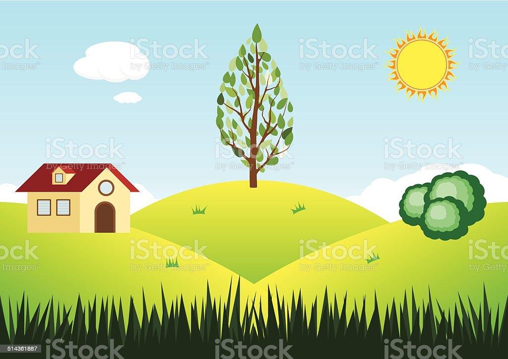 Vecteur fond de paysage avec vue sur la montagne. stock vecteur libres de droits libre de droits