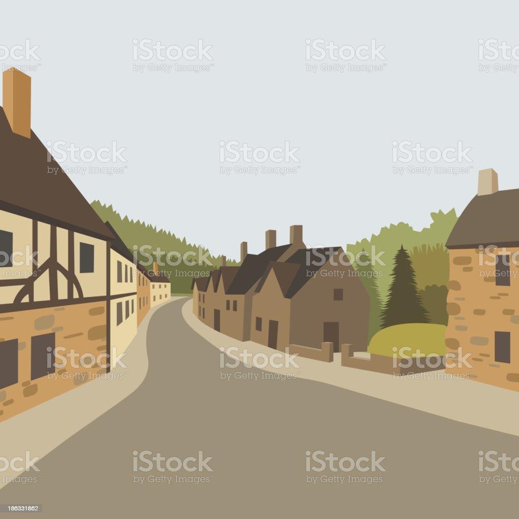 Mountain village background, vector illustration royalty-free stock vector art