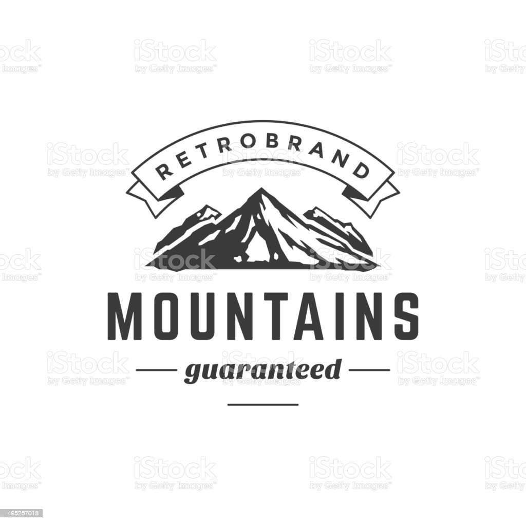 Mountain Vintage Logo Template Emblem. High Rock Silhouette vector art illustration