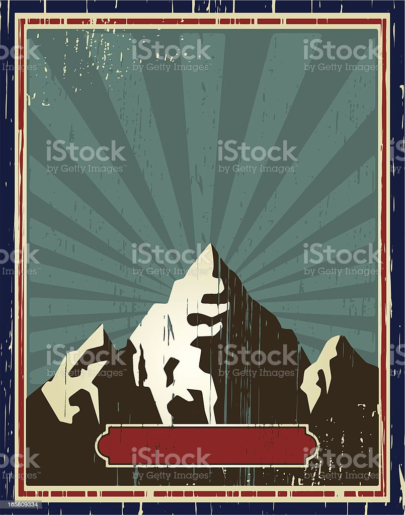 mountain vintage poster royalty-free stock vector art