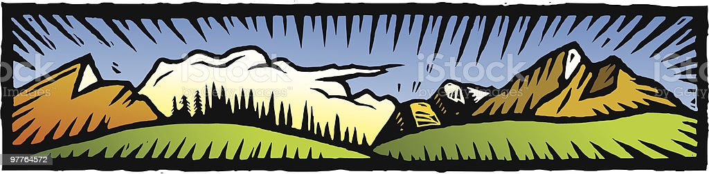 Mountain vista royalty-free stock vector art