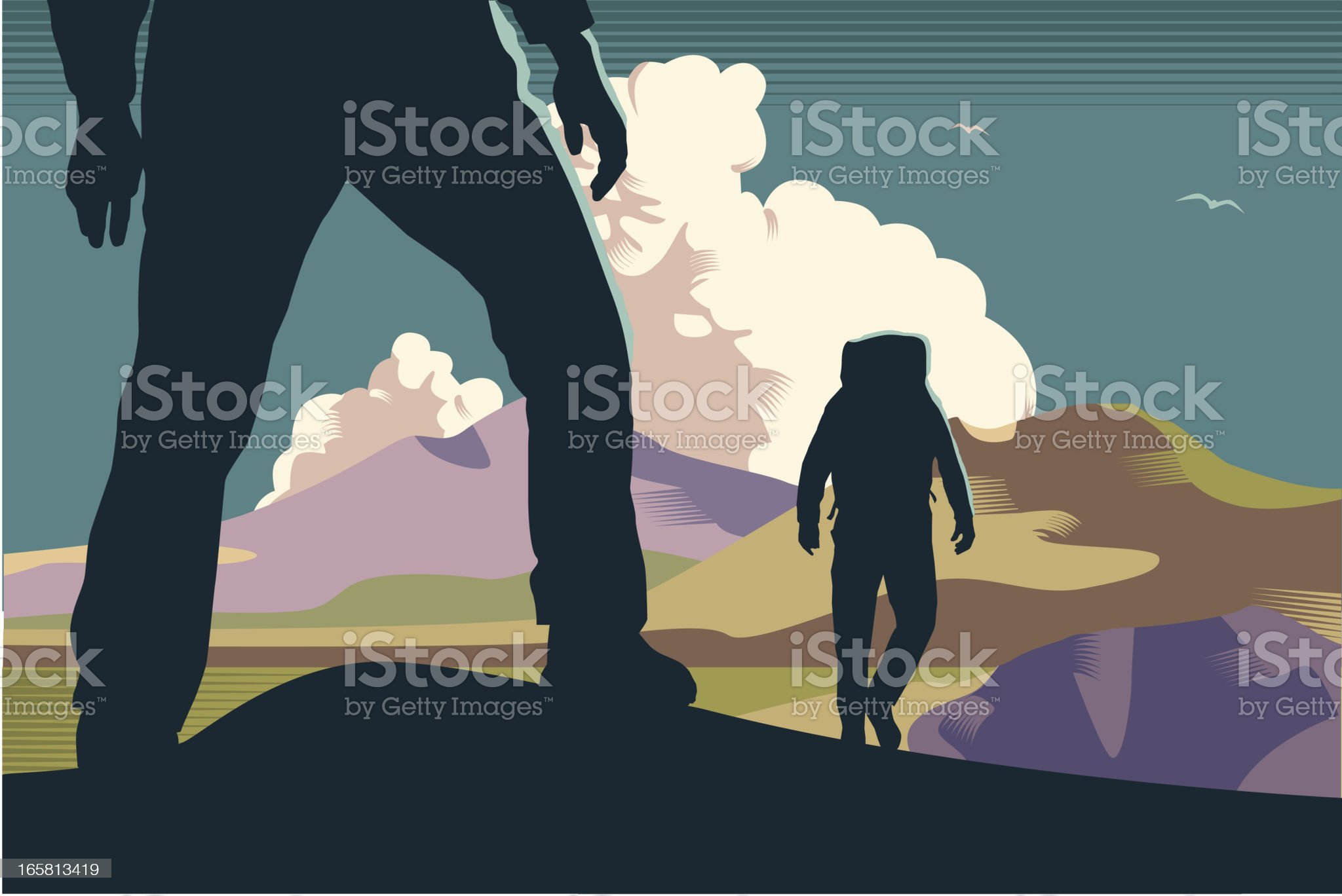 Mountain walkers/hikers royalty-free stock vector art
