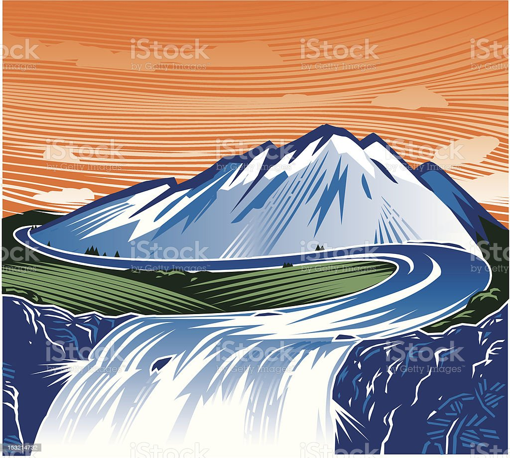 Mountain Waterfall royalty-free stock vector art