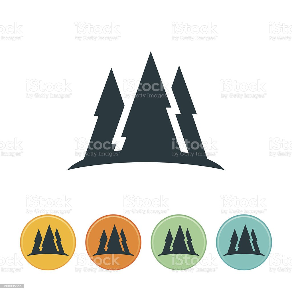 Mountain With Pine Trees Icon vector art illustration