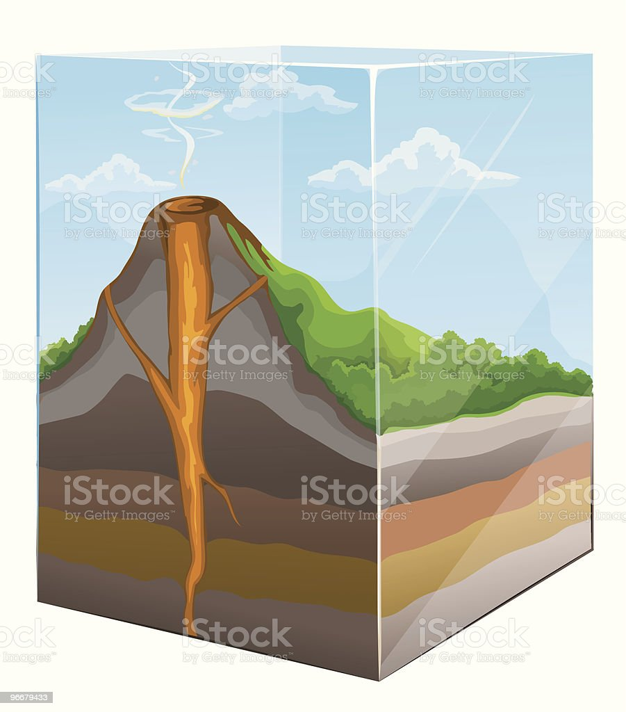 mountain with volcano crater section in glass box vector art illustration
