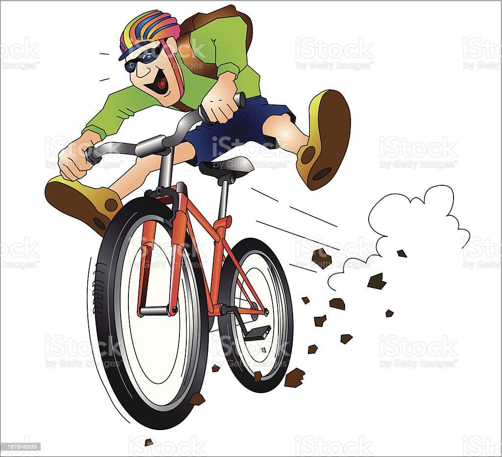 Mountainbike Fahrradfahrer vector art illustration