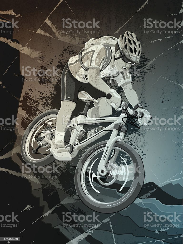 Mountainbike Sports Action Grunge Monochrome royalty-free stock vector art