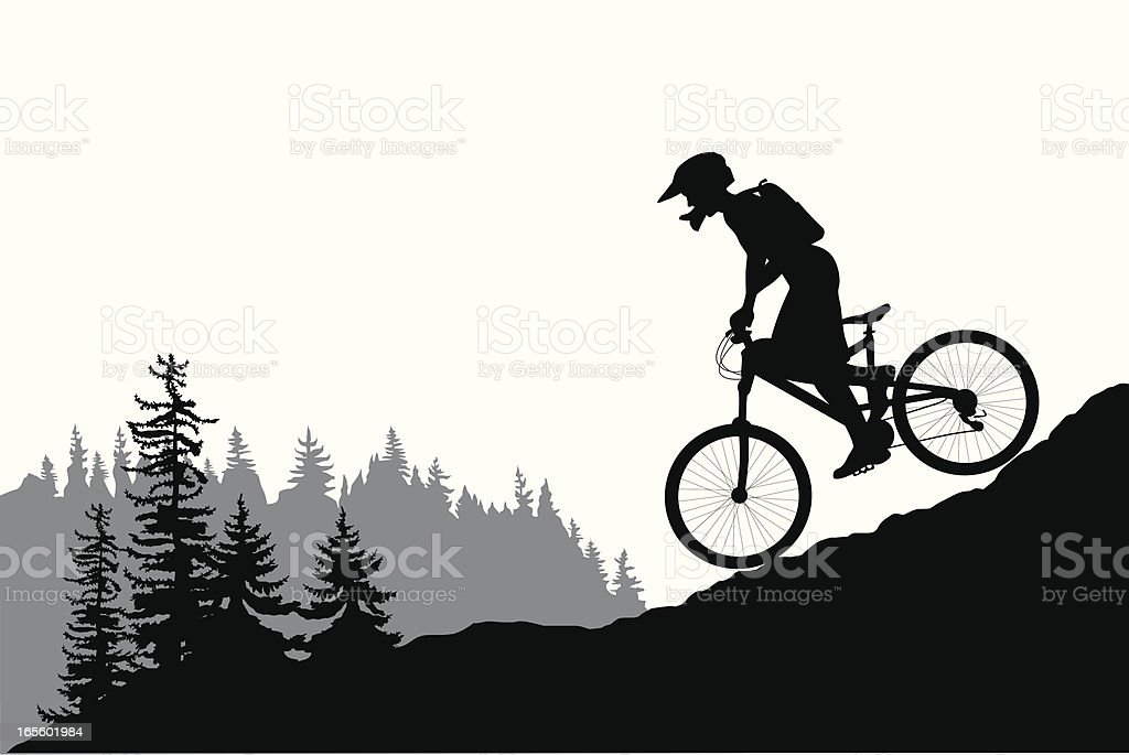 MountainBiking Vector Silhouette royalty-free stock vector art