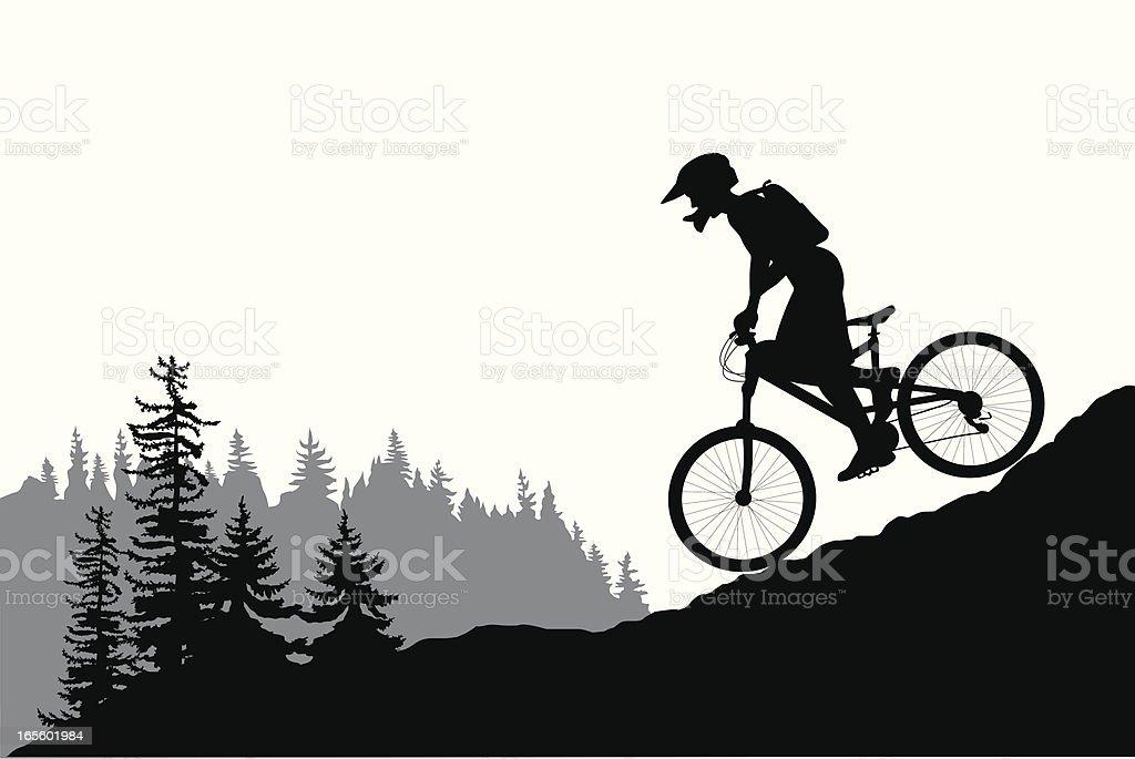 MountainBiking Vector Silhouette vector art illustration
