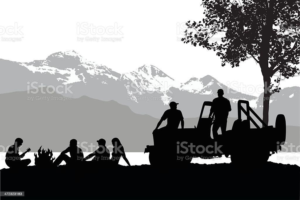 MountainBoys vector art illustration