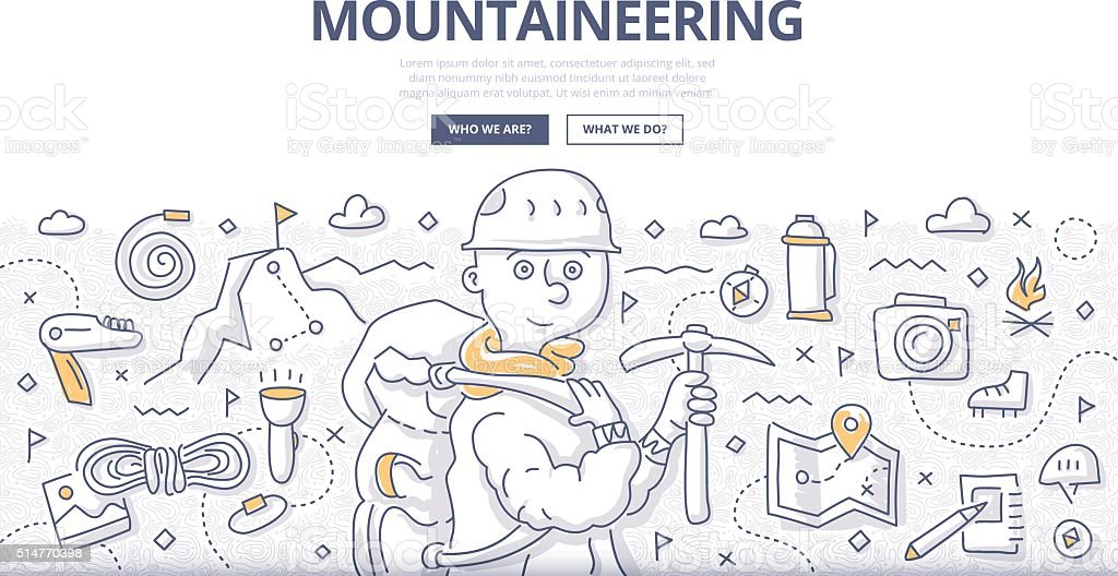 Mountaineering Doodle Concept vector art illustration