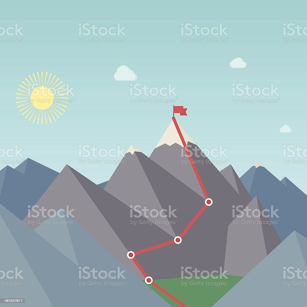Mountaineering Route. Goal Achievement Concept. Vector vector art illustration