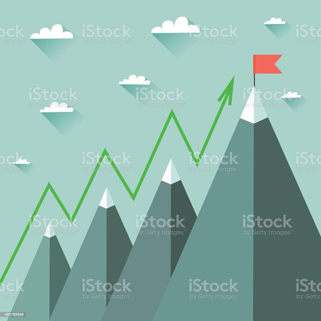Mountaineering Route. Goal Achievement or Success Concept vector art illustration