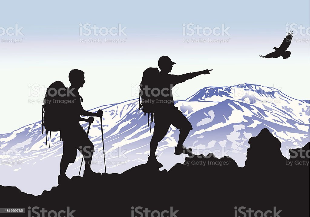 Mountaineers vector art illustration