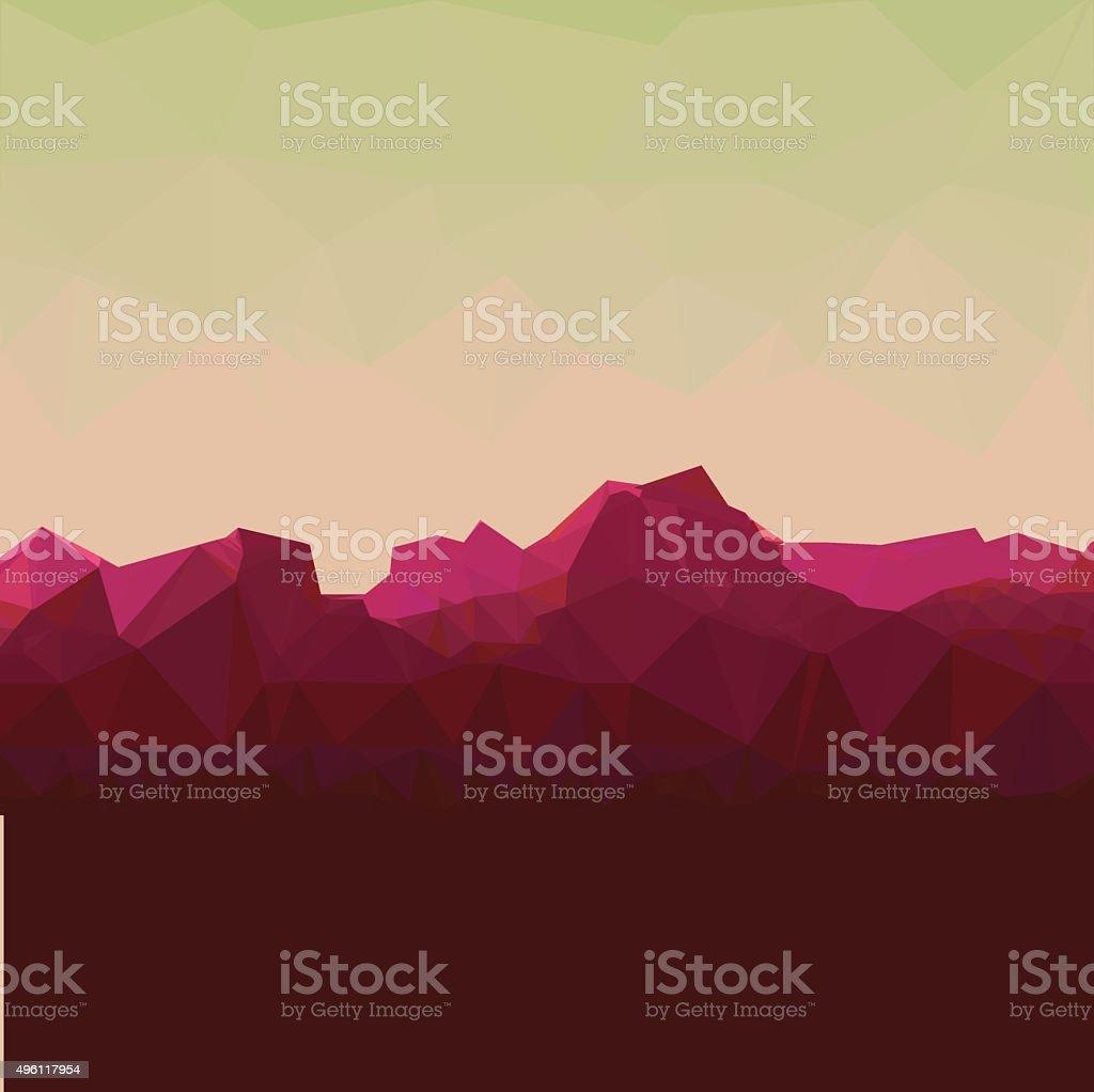 Mountainous terrain, polygonal background, vector illustration. vector art illustration
