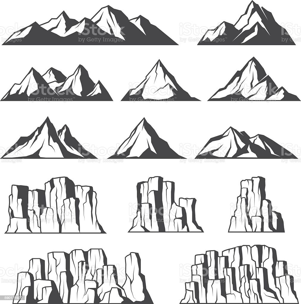 Mountains and cliffs icons vector art illustration