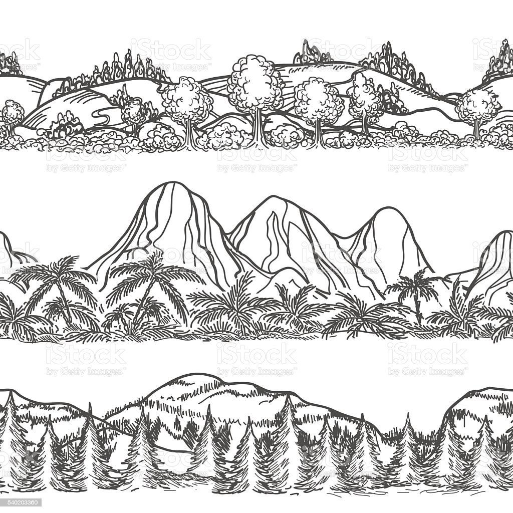 Mountains and forest hand drawn landscapes vector art illustration