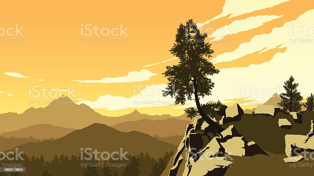 mountains and forest landscape illustration vector art illustration