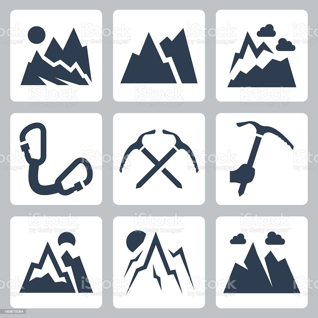 Mountains and mountaineering vector icons set vector art illustration