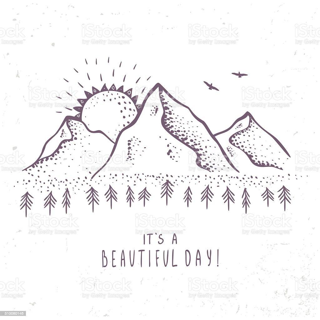 mountains and sun vector art illustration