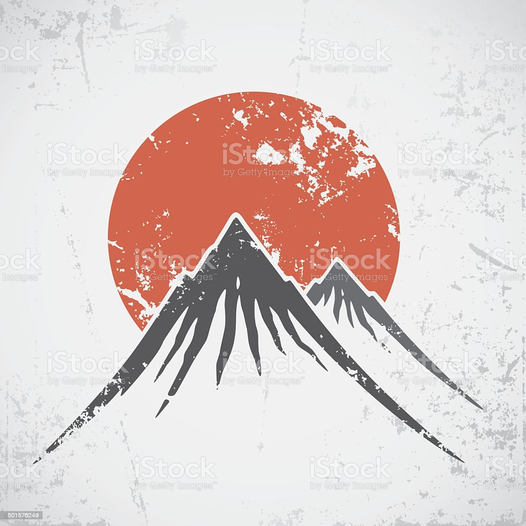 Mountains and sunset vector art illustration