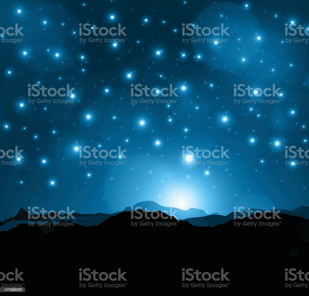 Mountains at night royalty-free stock vector art