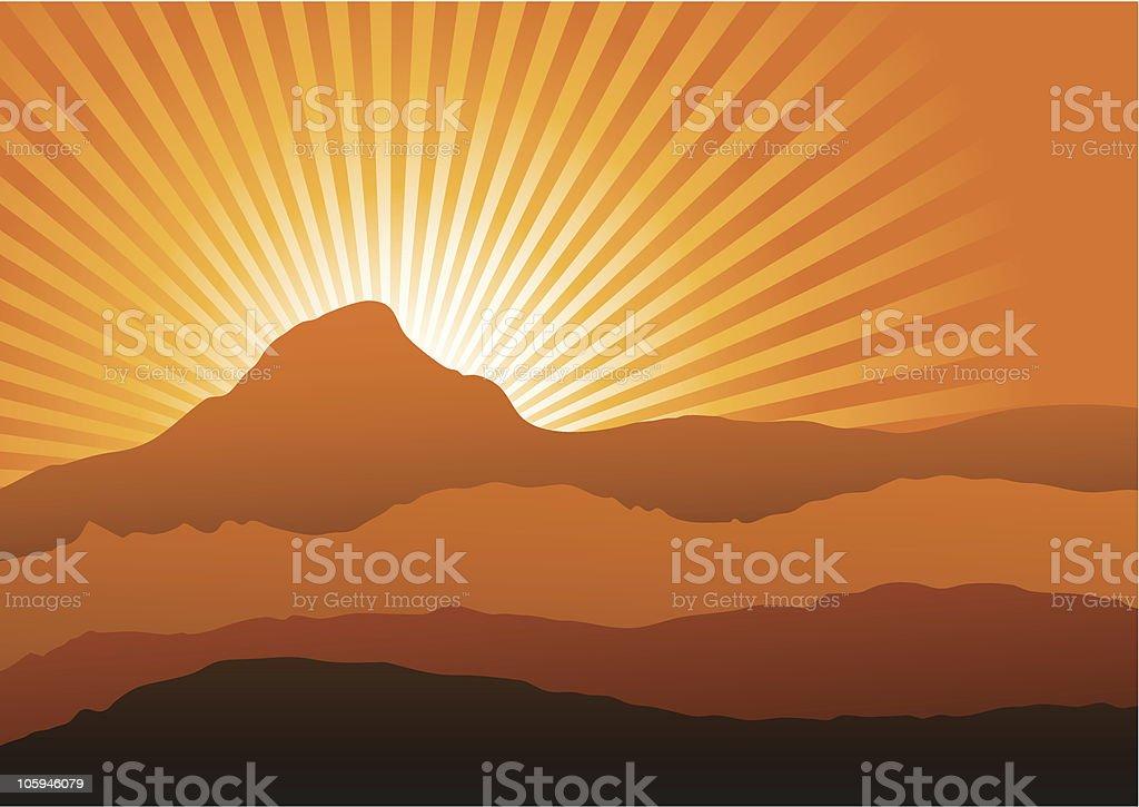 Mountains at sunset vector art illustration