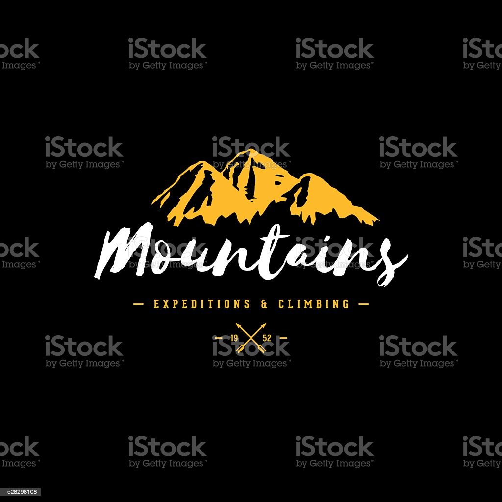 Mountains color sign vector art illustration