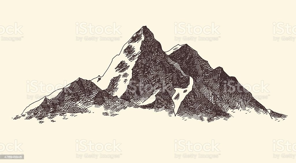 Mountains Contours Engraving Vector Hand Draw vector art illustration