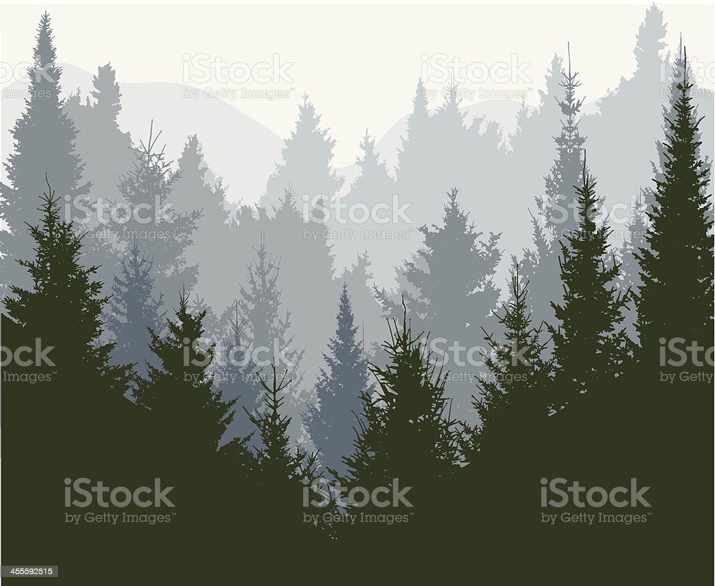Mountains forest vector art illustration