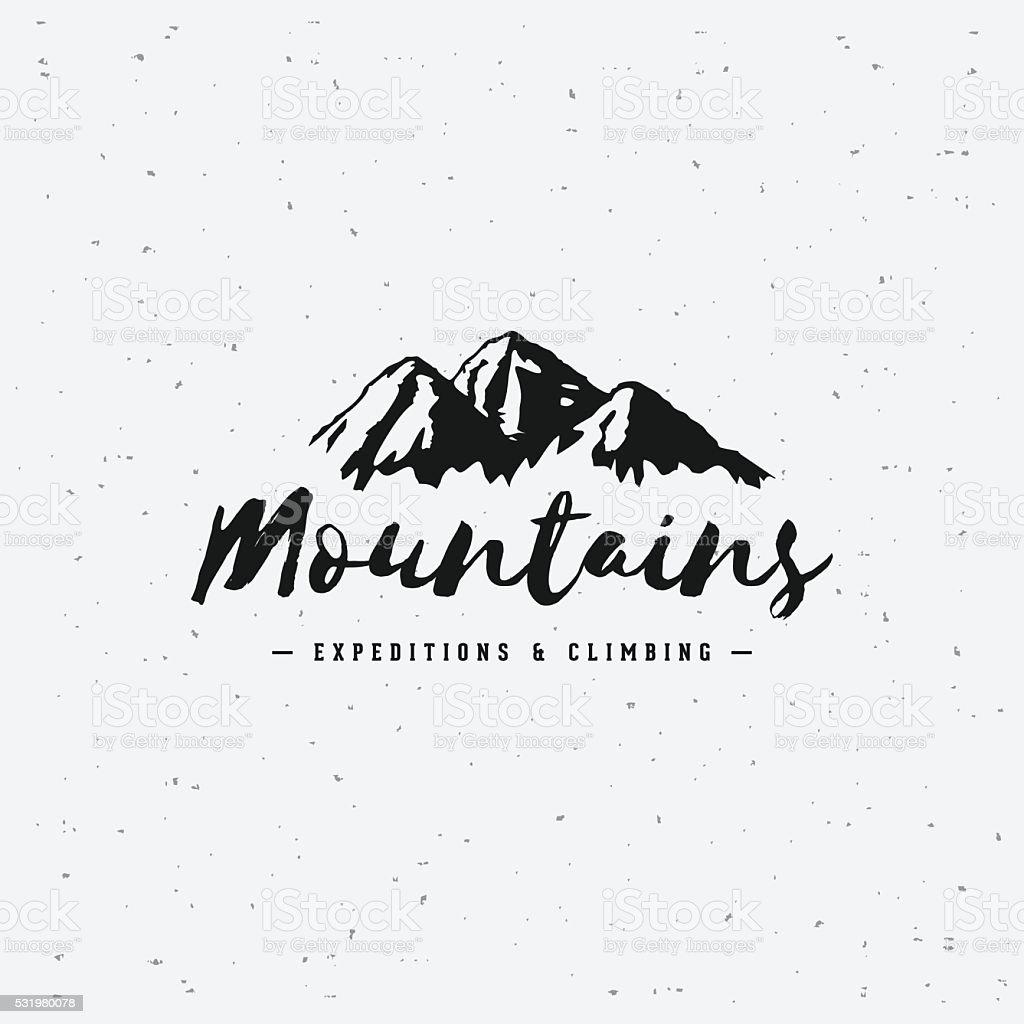 Mountains gray sign vector art illustration
