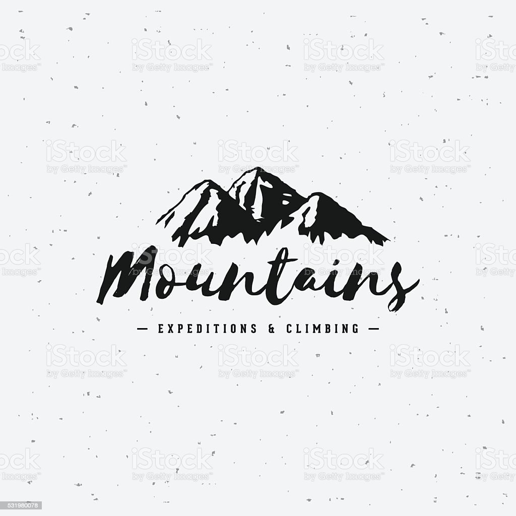 Mountains gray sign vector art illustration