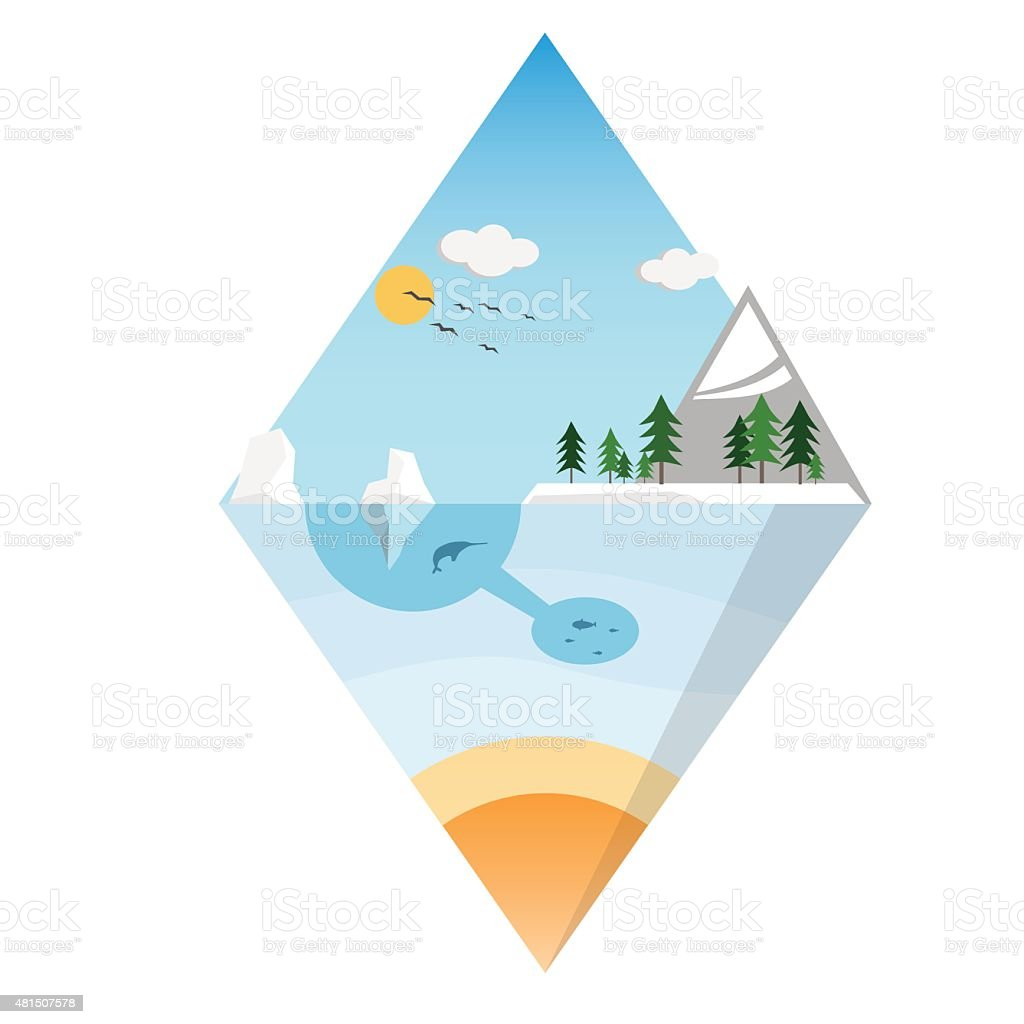 mountains ice island design. Ecological background suitable for presentations. vector art illustration