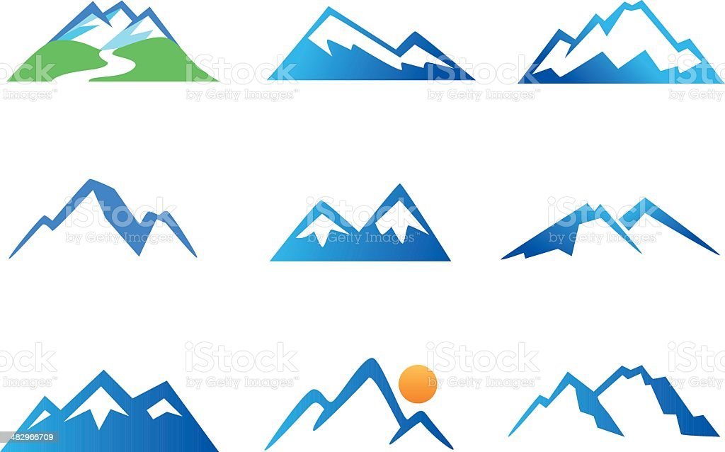 Mountains Icons vector art illustration