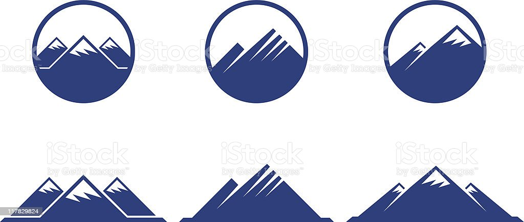 mountains icons with buttons on white background vector art illustration
