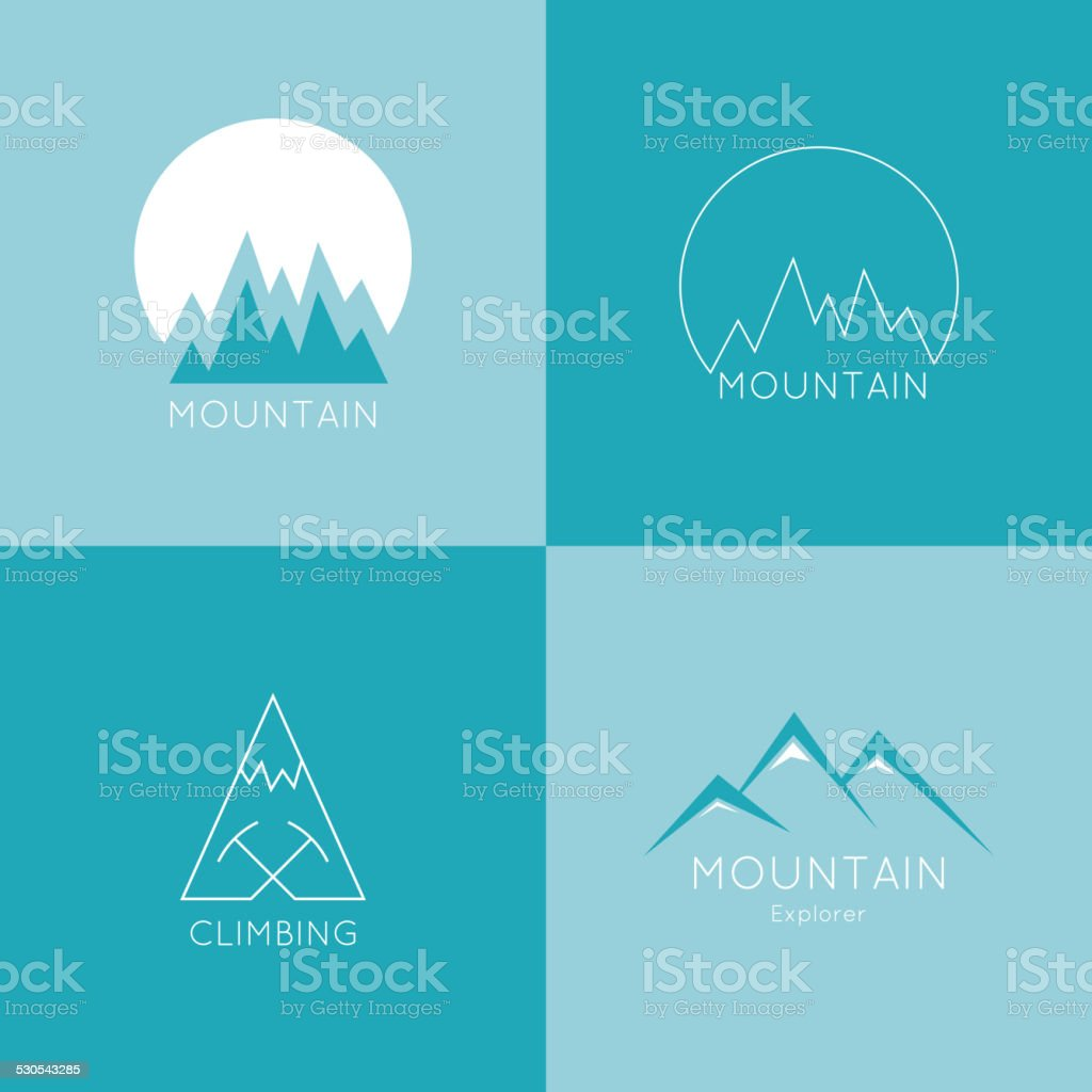 Mountains in box. vector art illustration