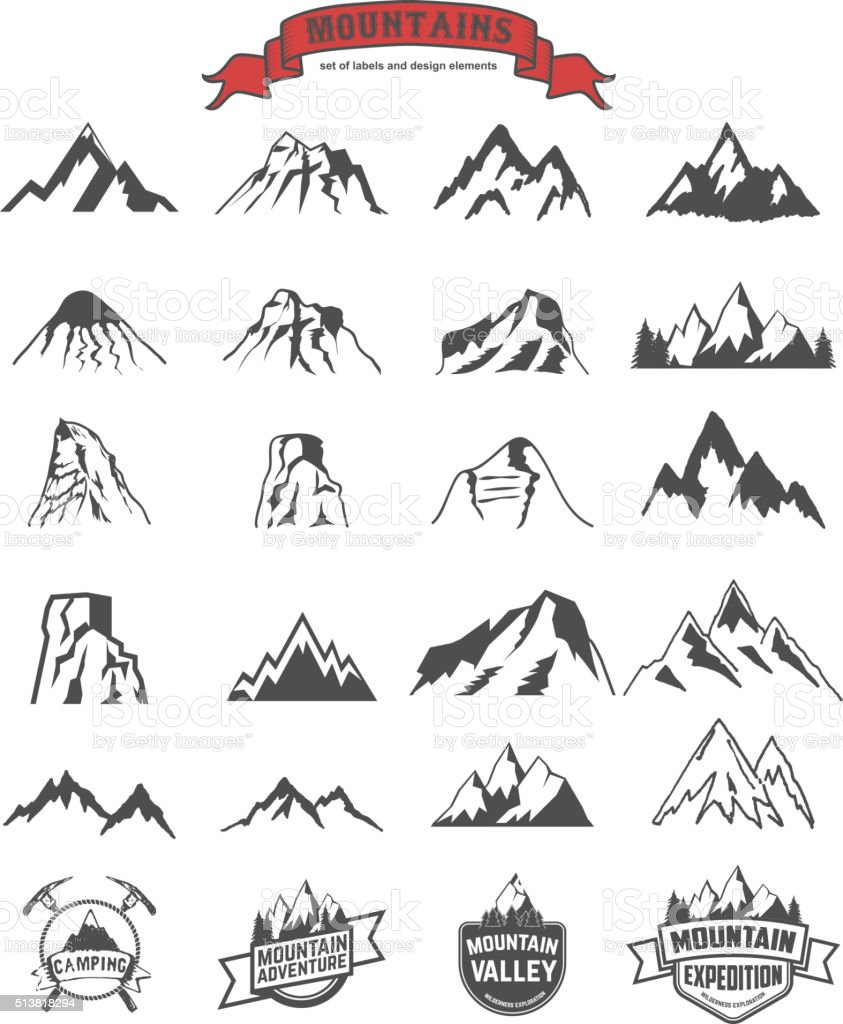 mountains labels and design elements set vector art illustration