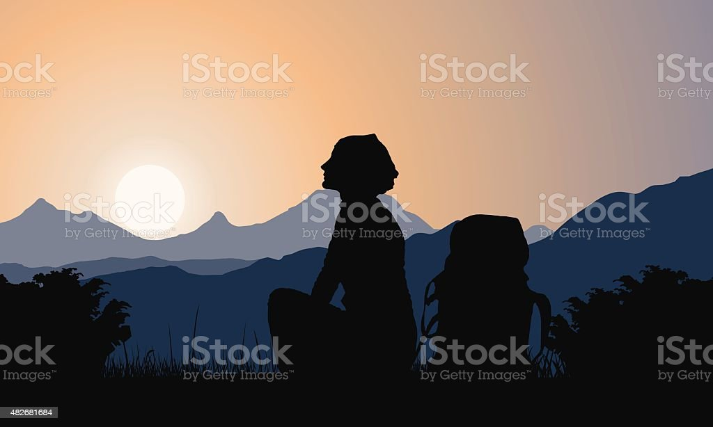 Mountains landscape with girl and backpack vector art illustration