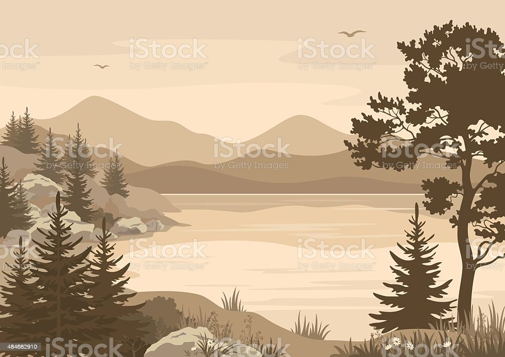 Mountains Landscapes, Lake, Trees and Birds vector art illustration