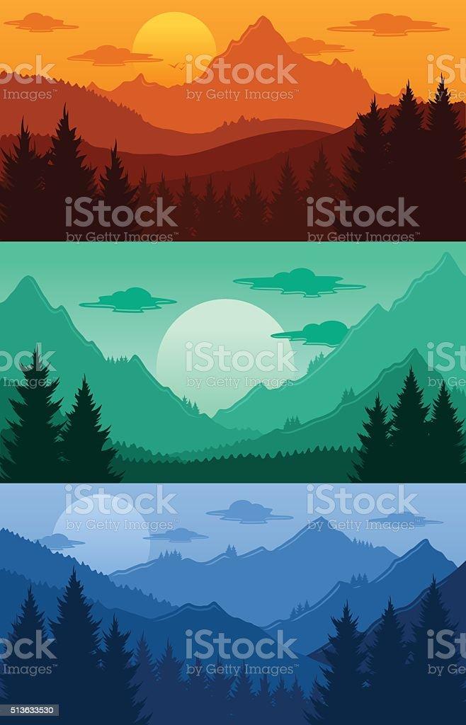 Mountains landscapes vector illustration vector art illustration