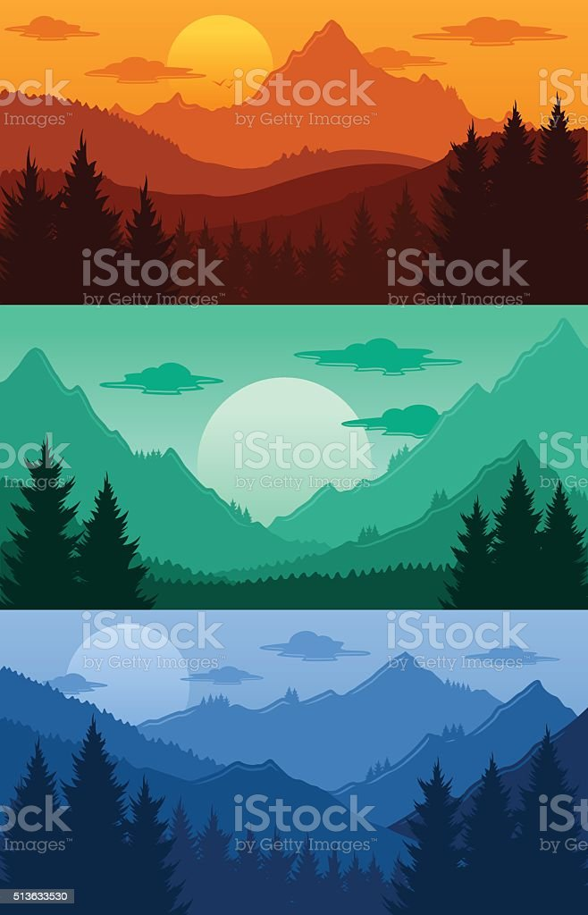 Mountains landscapes vector illustration vector art illustration
