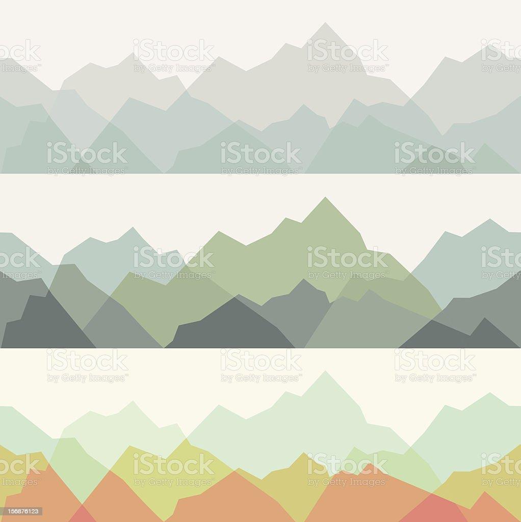Mountains - seamless pattern vector art illustration
