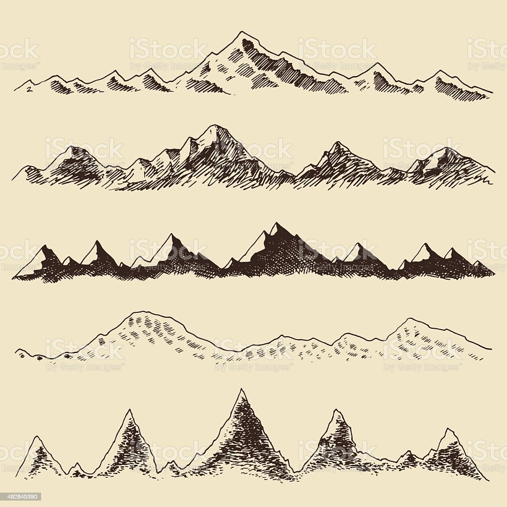 Mountains set contours Engraving Vector Hand Draw vector art illustration