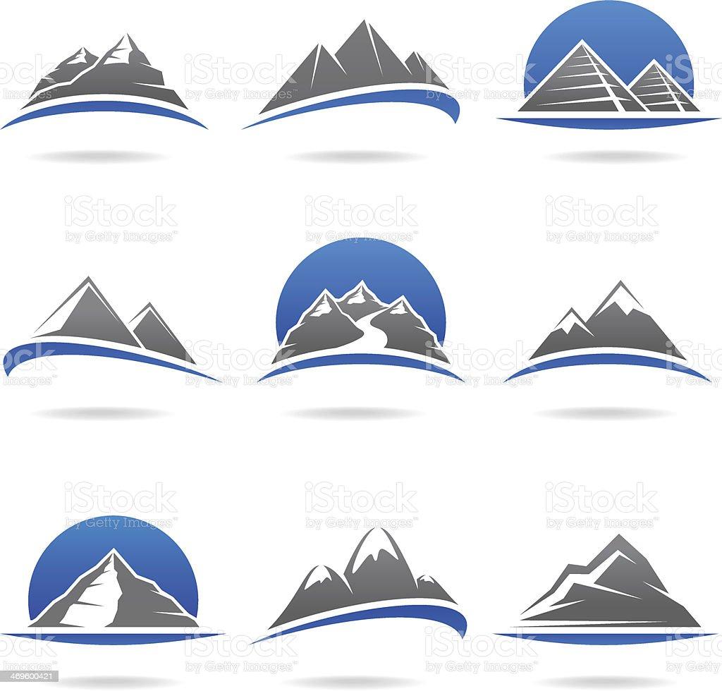 Mountains set. Vector vector art illustration