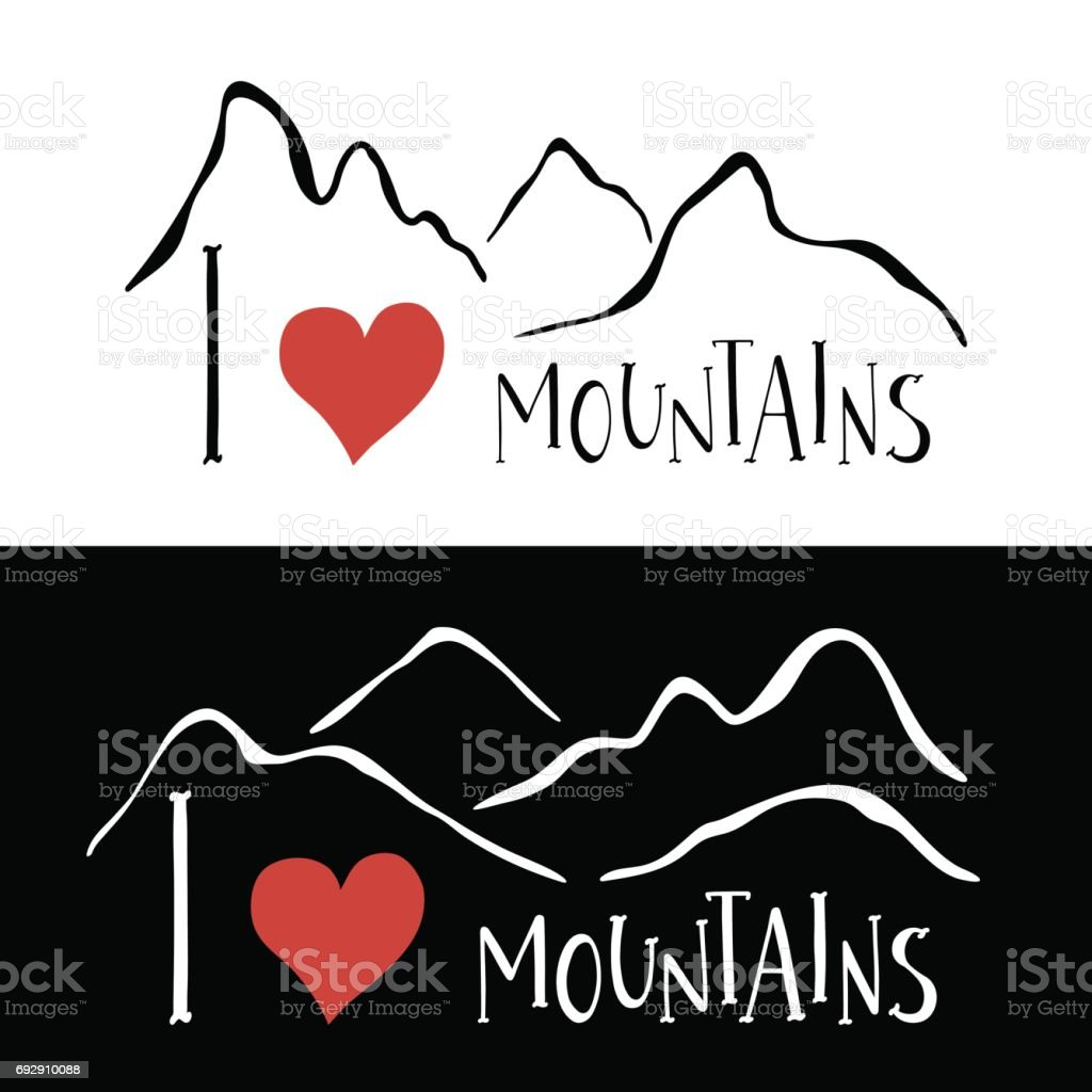 Mountains silhouettes and handwritten lettering I love Mountains vector art illustration