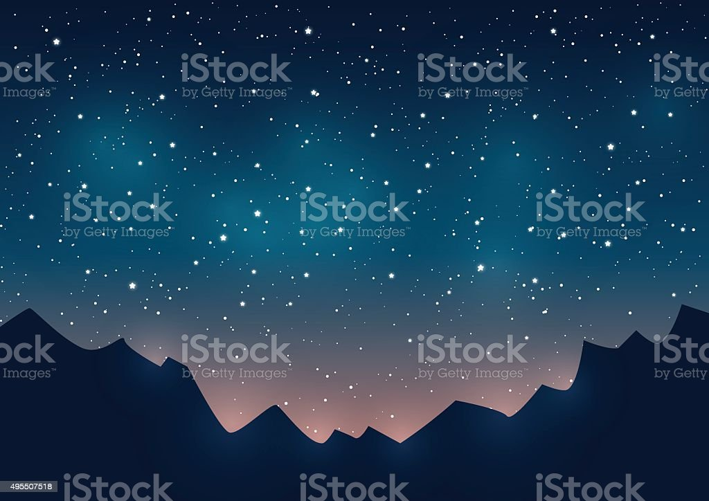 Mountains silhouettes on starry sky background vector art illustration